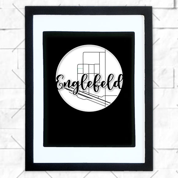 Close-up of Englefeld hometown map design in black shadowbox frame with white matte