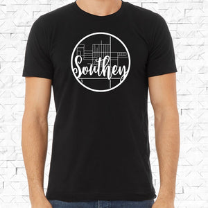 adult-sized black short-sleeved shirt with white Southey hometown map design