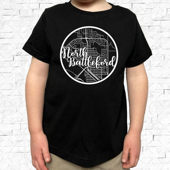 toddler-sized black short-sleeved shirt with white North Battleford hometown map design