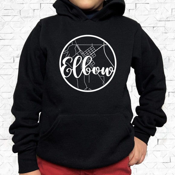 youth-sized black hoodie with white Elbow hometown map design