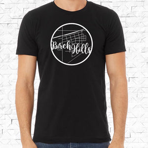 adult-sized black short-sleeved shirt with white Birch Hills hometown map design