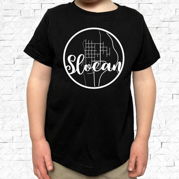 toddler-sized black short-sleeved shirt with white Slocan hometown map design