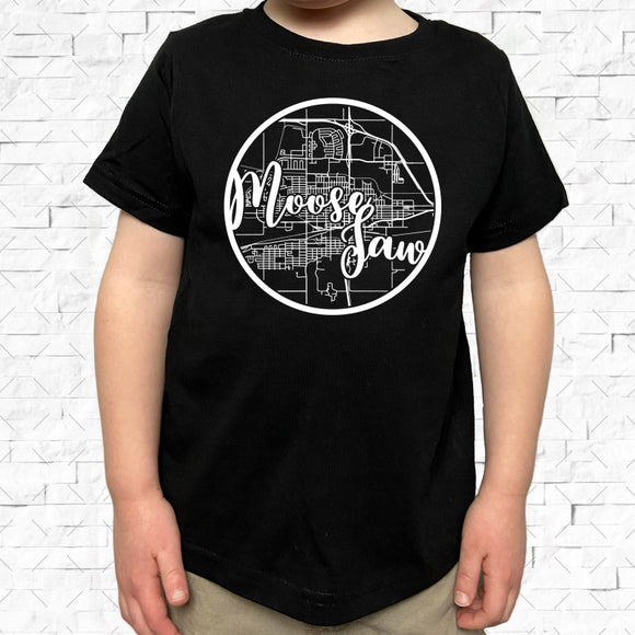 toddler-sized black short-sleeved shirt with white Moose Jaw hometown map design