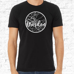 adult-sized black short-sleeved shirt with white Dresden hometown map design