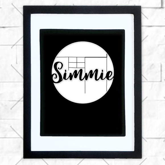 Close-up of Simmie hometown map design in black shadowbox frame with white matte