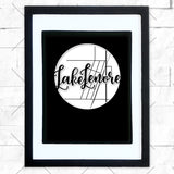 Close-up of Lake Lenore hometown map design in black shadowbox frame with white matte
