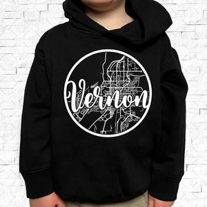 toddler-sized black hoodie with Vernon hometown map design