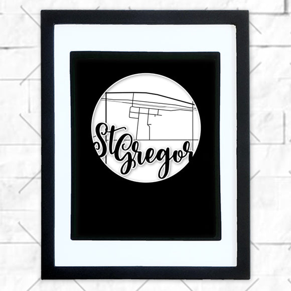 Close-up of St Gregor hometown map design in black shadowbox frame with white matte