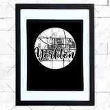 Close-up of Yorkton hometown map design in black shadowbox frame with white matte