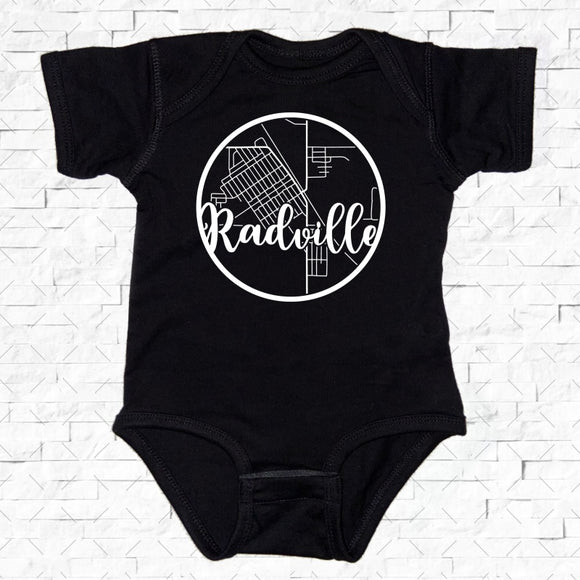 baby-sized black short-sleeved onesie with Radville hometown map design