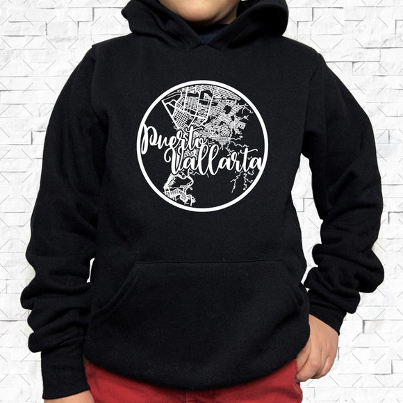 youth-sized black hoodie with white Puerto Vallarta hometown map design