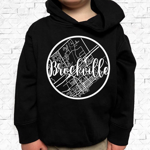 toddler-sized black hoodie with Brockville hometown map design