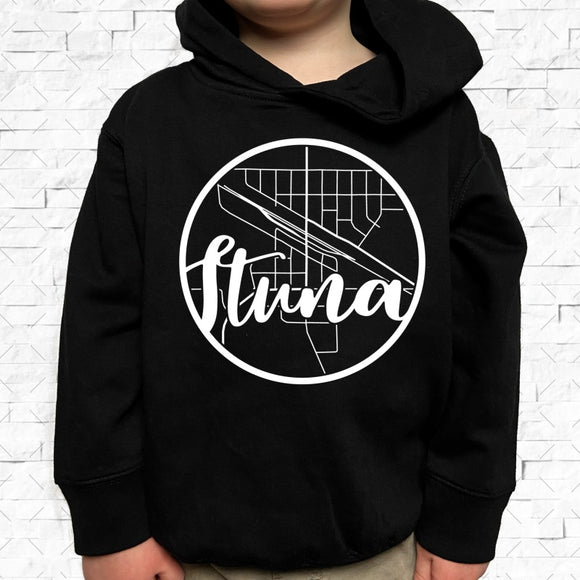 toddler-sized black hoodie with Ituna hometown map design