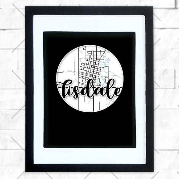 Close-up of Tisdale hometown map design in black shadowbox frame with white matte