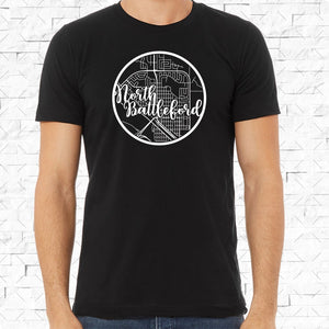 adult-sized black short-sleeved shirt with white North Battleford hometown map design