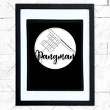 Close-up of Pangman hometown map design in black shadowbox frame with white matte