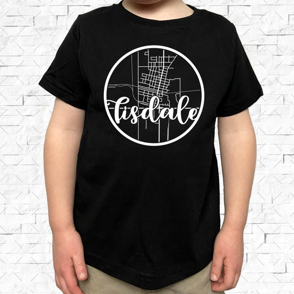 toddler-sized black short-sleeved shirt with white Tisdale hometown map design