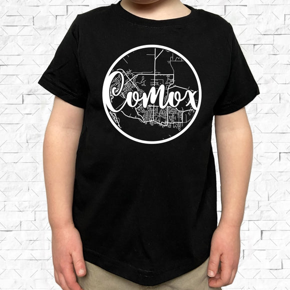 toddler-sized black short-sleeved shirt with white Comox hometown map design