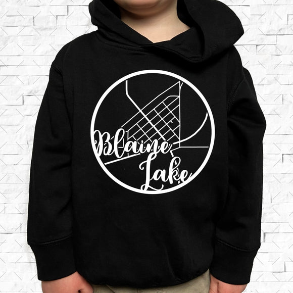 toddler-sized black hoodie with Blaine Lake hometown map design