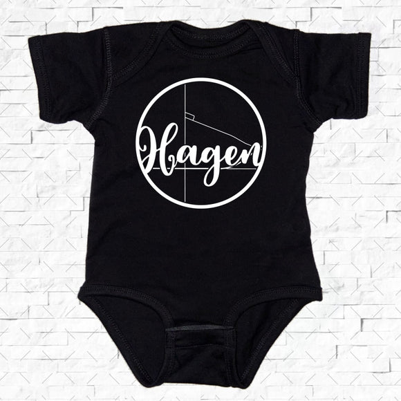 baby-sized black short-sleeved onesie with Hagen hometown map design
