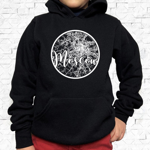 youth-sized black hoodie with white Moscow hometown map design