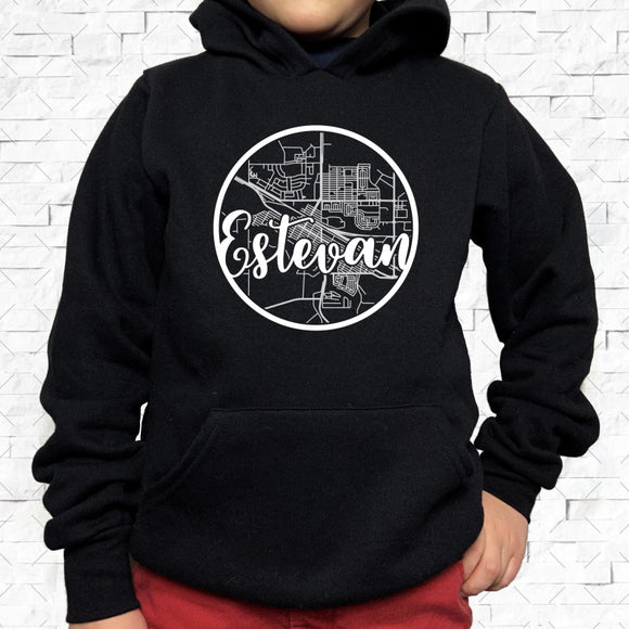 youth-sized black hoodie with white Estevan hometown map design
