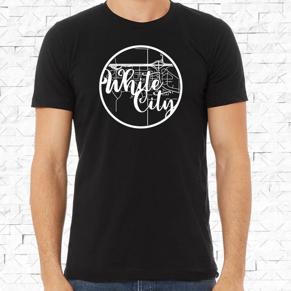 adult-sized black short-sleeved shirt with white White City hometown map design
