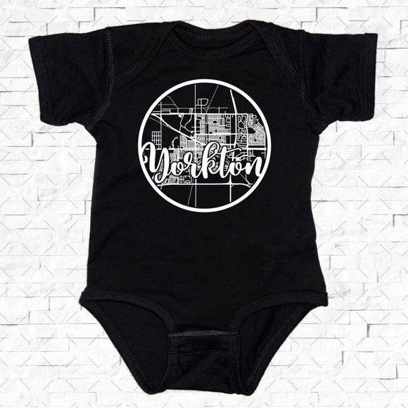 baby-sized black short-sleeved onesie with Yorkton hometown map design