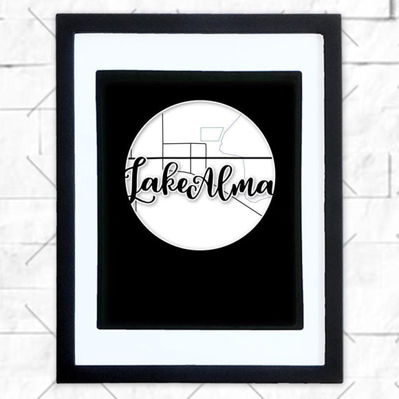 Close-up of Lake Alma hometown map design in black shadowbox frame with white matte