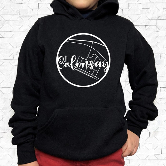 youth-sized black hoodie with white Colonsay hometown map design