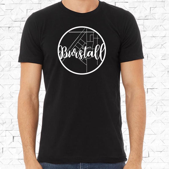 adult-sized black short-sleeved shirt with white Burstall hometown map design