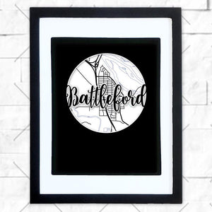 Close-up of Battleford hometown map design in black shadowbox frame with white matte