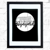 Close-up of Wynyard hometown map design in black shadowbox frame with white matte