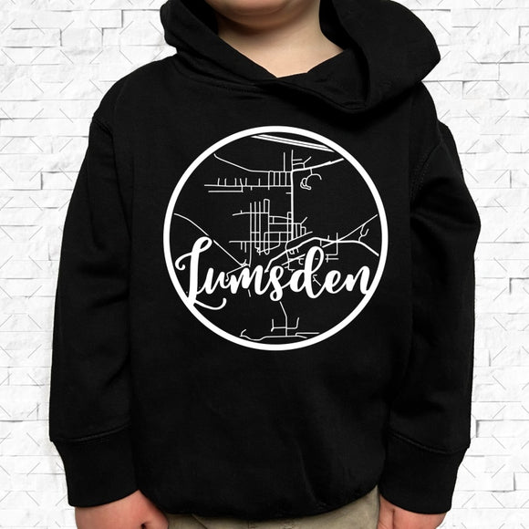 toddler-sized black hoodie with Lumsden hometown map design