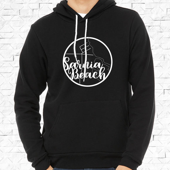 adult-sized black hoodie with white Sarnia Beach hometown map design