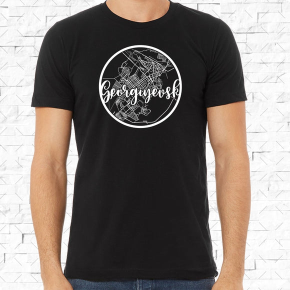 adult-sized black short-sleeved shirt with white Georgiyevsk hometown map design