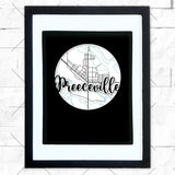 Close-up of Preeceville hometown map design in black shadowbox frame with white matte