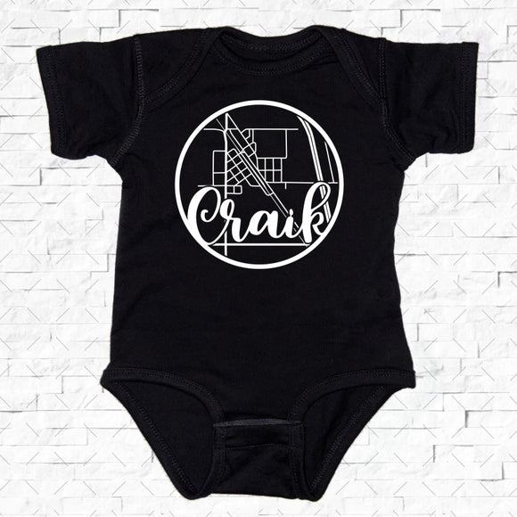 baby-sized black short-sleeved onesie with Craik hometown map design