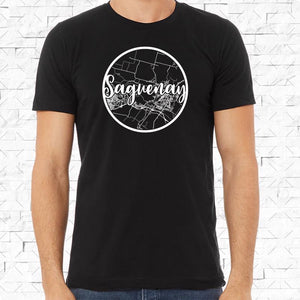 adult-sized black short-sleeved shirt with white Saguenay hometown map design
