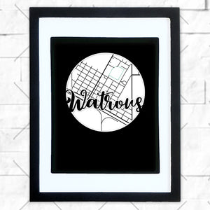 Close-up of Watrous hometown map design in black shadowbox frame with white matte
