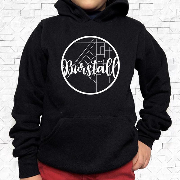 youth-sized black hoodie with white Burstall hometown map design