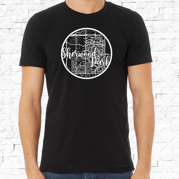 adult-sized black short-sleeved shirt with white Sherwood Park hometown map design