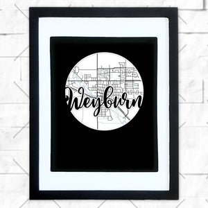 Close-up of Weyburn hometown map design in black shadowbox frame with white matte