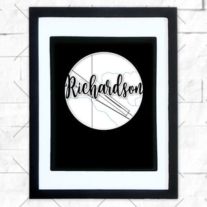 Close-up of Richardson hometown map design in black shadowbox frame with white matte
