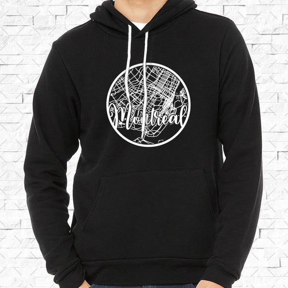 adult-sized black hoodie with white Montreal hometown map design