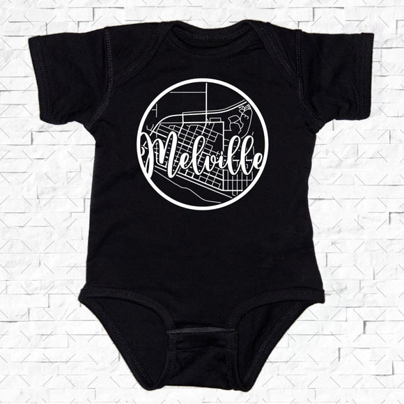 baby-sized black short-sleeved onesie with Melville hometown map design