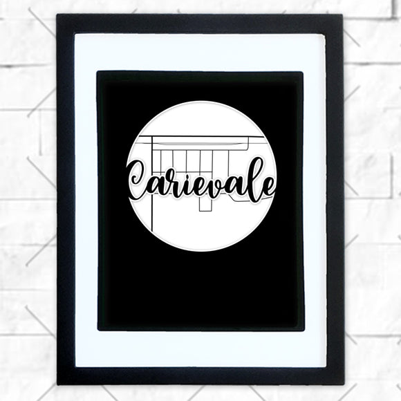 Close-up of Carievale hometown map design in black shadowbox frame with white matte