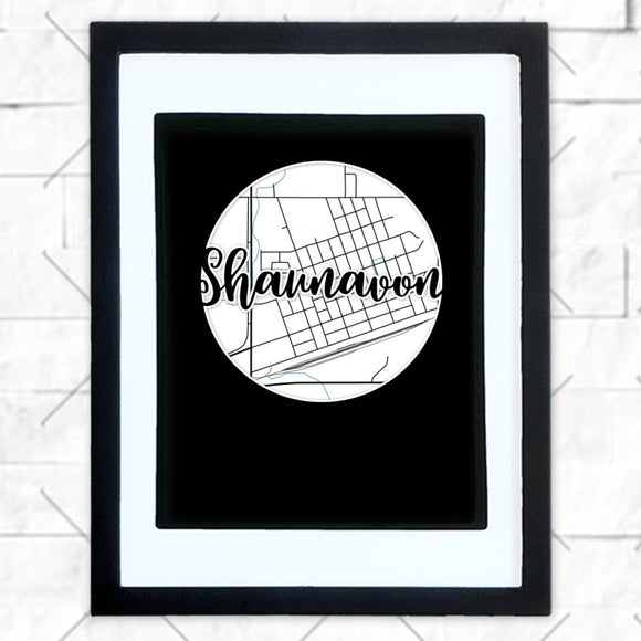 Close-up of Shaunavon hometown map design in black shadowbox frame with white matte