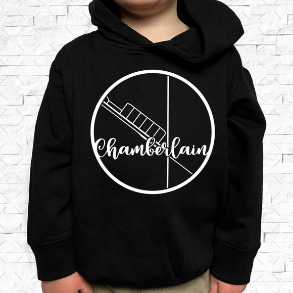 toddler-sized black hoodie with Chamberlain hometown map design