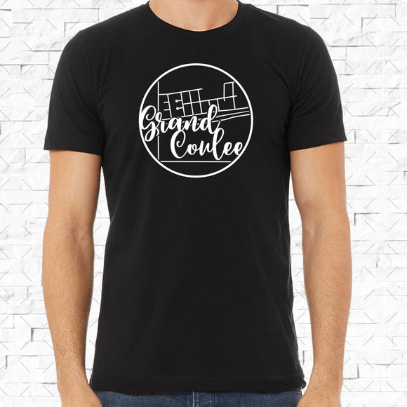 adult-sized black short-sleeved shirt with white Grand Coulee hometown map design
